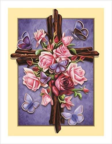 Rose Kreuz Religion Diamant-pigboss Full HSS-5D Diamant Gemälde Art Kreuz Diamant Stickerei Kreuzstich Kits Weihnachten Geschenk Mosaik Muster (35,1x 45,2cm) A : L1250 multi