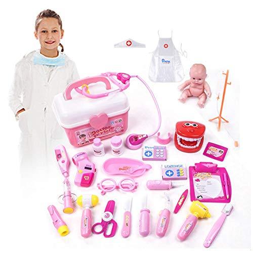 Toy Doctor Kit 28 Stück Pretend Dentist Medical Kit mit elektronischem Stethoskop und Mantel für Kinder, Weihnachtsgeschenke, Klassenzimmer, Ostern-Stuffers und Roleplay-Kostüm von Dr.