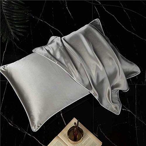 THAVASAM 2 Sets Kissenhülle Mikrofaser Mulberry Silk Kissenbezug Für Haar Und Haut, Beidseitige Seide, 2 Stück Standard 50x75 cm (Grau B) -