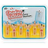 NPW Drinking Buddies, Marcadores para Bebidas, Plástico, Multicolor, 6 Unidades