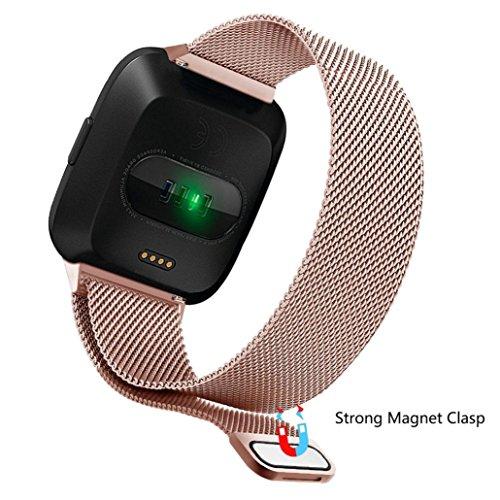 Uhr ersetzen Band, Shape Milanese Magnetband Edelstahlband für Fitbit Versa (Roségold)