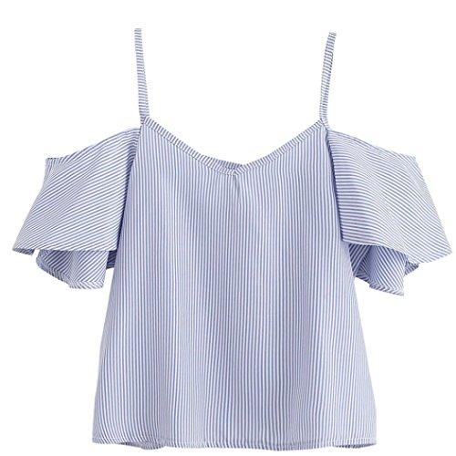 FEITONG Mujer Pin del Verano Blusa de Rayas Parte Superior del Hombro (L, Azul)