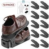 10pezzi creativo durevole regolabile scarpiera salvaspazio, Elepawl Shoe Organizer per il risparmio di spazio di archiviazione delle scarpe Black