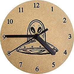 Azeeda 130mm 'OVNI' Reloj de Pared pequeño MDF (CK00015612)