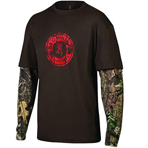 Browning Herren Long Sleeve Ryder Camo T Shirt Gr. Small, Holz (Holz-camo-t-shirt)