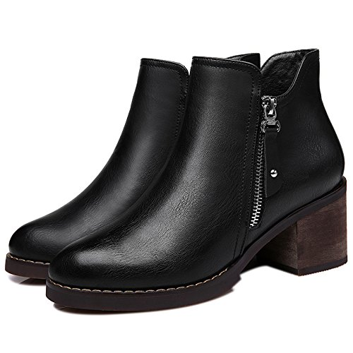 KHSKX-Des Chaussures De Femme LAutomne Et LHiver Tête Ronde British Vent Courte Talon Souliers Bottes Bruts Thirty-nine
