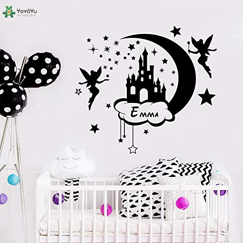 zhuziji Wall Decal Cartoon Fairy Personalized Name Wall Stickers Vinyl for Kids Rooms Moon and Star Girls Bedroom Decor Di 96x86cm -