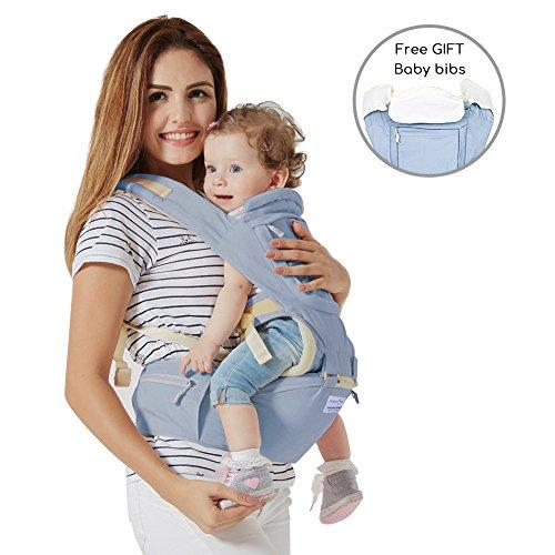 Babytrage Bauchtrage,Mondeer 9 in 1 Baby Hocker Schulter für alle Saisons, Geeignet für Baby ab 3–36 Monate, spezelles ergonomisches Design für Babys, angenehmer Hocker und Pflege aus allen Seiten, allein Wanderung ermöglichen(blue)