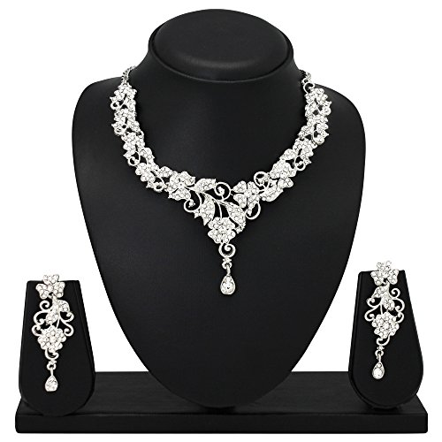 Atasi International Diamond Look Silver Plated Necklace Set for Women