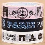 Juego linda cinta adhesiva decorativa rosa azul blanca París 3 unidades