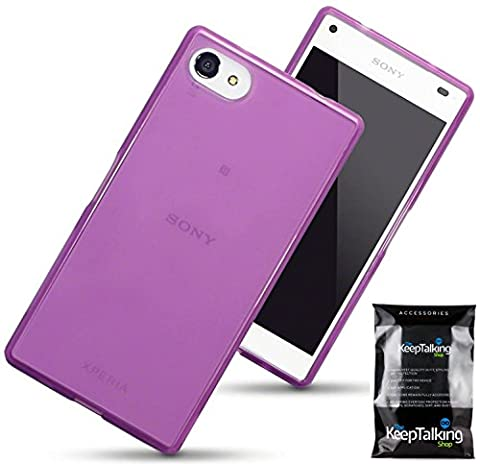 Sony Z5 Compact Case - Purple Gel Silicone Phone Case Cover Protective Shockproof TPU The Keep Talking Shop®