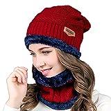 2 in1 Winter Beanie Mütze und Loop-Schal Set,Esther Beauty Warm Beanie Strickmütze und Schal mit Fleecefutter für Frauen & Männer (Burgund)