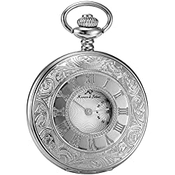 KS Half Hunter Steampunk Hollow Antiqued Silver Case Roman Number Japanese Quartz Pocket Watch KSP016