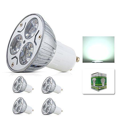 GU10 LED Glühlampen Lampe 3W, High Power LED Strahler Leuchtmittel LED Leuchtmittel in Beleuchtung, Super Bright LED Spot Lampen, 250–300LM, Kaltweiß 4Pack