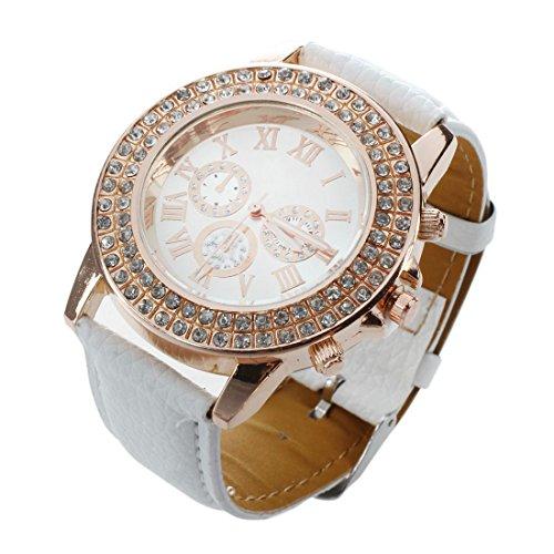Mujeres Reloj - Geneva Reloj para mujeres, correa de cuero color blanco