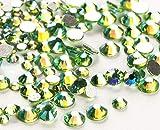 Jollin 3456 Piezas del Strass Abalorios Cristal Vidrio pedrería Espalda Planas Gemas Diamantes Para Uñas Arte 6 Tamaño S4~S12, Light green AB