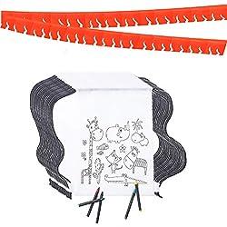 Partituki Piñatas de Cumpleaños Infantiles 35 Mochilas de Colorear, 35 Sets de 5 Ceras de Colores y una Guirnalda Roja de 20 m. Ideal para Detalles Cumpleaños Infantiles y Regalos Cumpleaños Niños