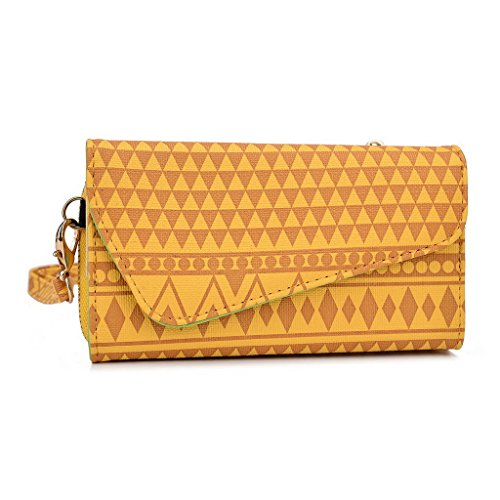Kroo Tribal Urban Style Phone Case Walllet Clutch fits LG Spirit multicolore Black and White jaune