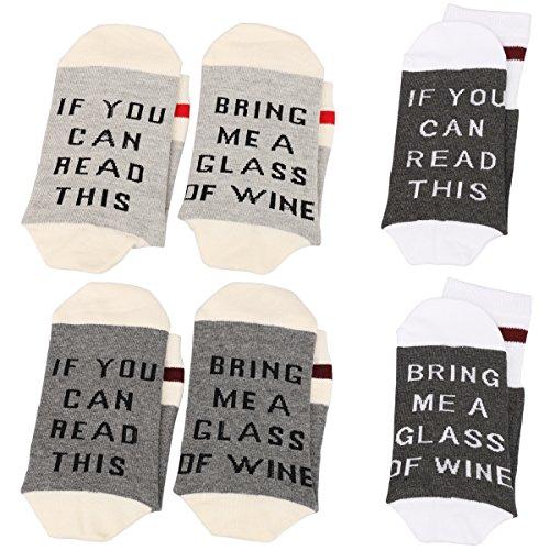 N Newland IF YOU CAN READ THIS Fun Wine Socks, 3 Pack,Für Frauen Männer Baumwolle Lustige Crew Socken Neuheit Funky Nette Spiel Wein Party Strumpfwaren (Graue Serie) (Crew 3-pair Pack)