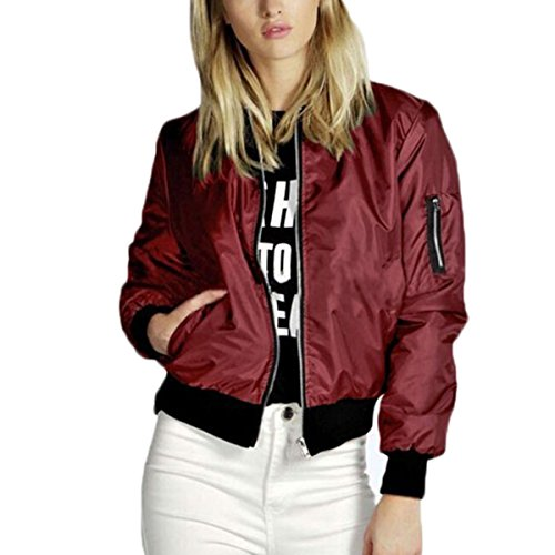 Damen Casual Retro Sport Übergangsjacke Reißverschluss Einfarbig Kurz Motorrad Jacke (XL, Weinrot) Jugend-motorrad-jersey
