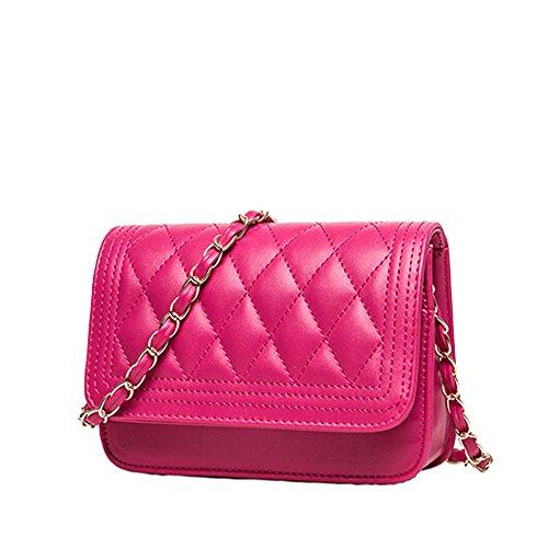 GSPStyle Borse a Spalla Tracolla per Donna Elegante Modello di Griglia Rosa scuro
