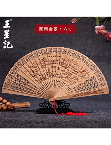 DSFH Abanico Plegable Sandalwood Fan Female Fan Chinese Fan Myanmar Fragrance Folding...