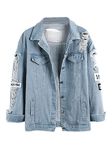 Choies Damen Jeans-Jacke mit Patches Blouson Knopfverschluss Cut-outs Denim Jacket Hellblau M (Denim Damen Jeans-jacke)