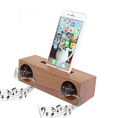 Holz Sound Verstärker  natur Handy Ständer mit Sound Verstärker Lautsprecher Handmade Holz Art Craft Smartphone Stander Charge Docking für iPhone X 8 7 6S 6 Plus Samsung S8/S7, LG, Sony, Nexus