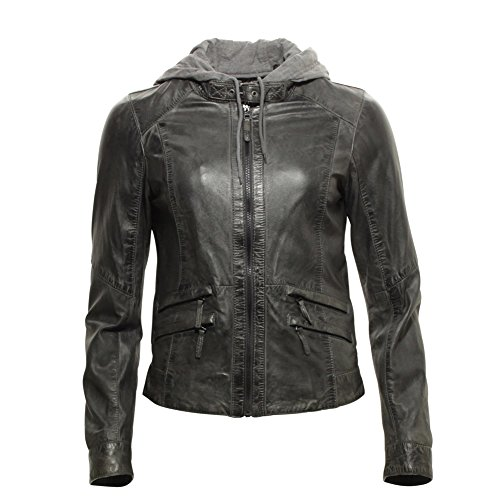 OAKWOOD WOMEN Lederjacke SUNDAY NEW 61843-529 gris fonce, dunkelgrau