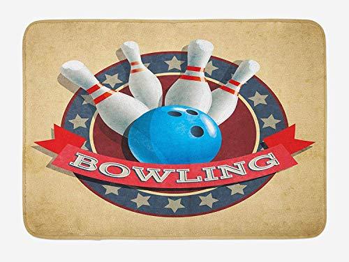 Bowling-Party-Badematte, Altmodisches Retro-Rundschreiben-Sport-Emblem-Stern-Band Mit Typografie-Design, Plüsch-Badezimmer-Dekor-Matte Mit Rutschfester Rückseite, 23,6 Wx 15,7 L Zoll, Mehrfarben