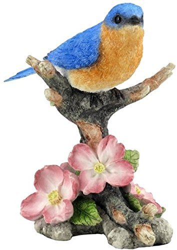 488-inch-bluebird-on-branch-with-flowers-decorative-figurine-blue