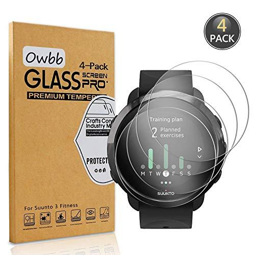 Owbb [4 Stück] Gehärtetes Glas Display Schutzfolie Für Suunto 3 Fitness Smartwatch Transparent Härte 9H High Definition Explosionsgeschützter Film
