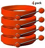 Silikon-Eierringe von Ozetti – Machen Sie perfekt runde Spiegeleier oder Pancakes – Professionelles, BPA-freies Silikon - Mit GRATIS-Pfannenwender und -Rezepten – ORANGE (4er-PACK)