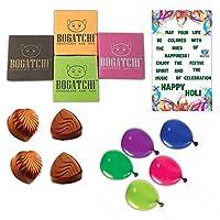 BOGATCHI Happy Holi Gift Chocolate Combo, 4 pcs + Free Greeting Card + Free Holi Gifts