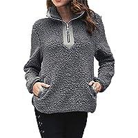 Geili Sweatshirt Damen Herbst Winter Warme Flauschige Pullover Langarm Einfarbige Halfzip Plüsch Bluse Taschen... preisvergleich bei billige-tabletten.eu