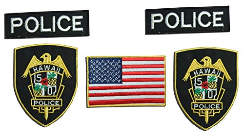 Preisvergleich Produktbild Hawaii Police Department FANCY DRESS / AIRSOFT Fancy Kleid Eisen auf Patch – Set of 5 Stickerei-Abzeichen