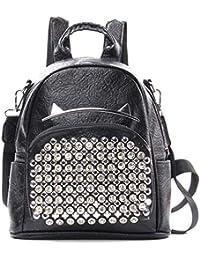 HONGCE Bolso de mochila con tachuelas, estilo casual, para viajes, para mujer