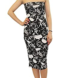 Click Selfie® New Womens Floral Printed Pencil Midi Dress Strapless Boob Tube Dress 8-