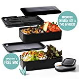 Atthys Lunch Box Noir Mat Bento Japonais Design 3 Couverts | Bento Box Bambou 2 Compartiments Hermétiques 1200 ML | Micro-Ondes & Lave-Vaisselle | Boîte Déjeuner Bois Adultes ou Enfants Premium