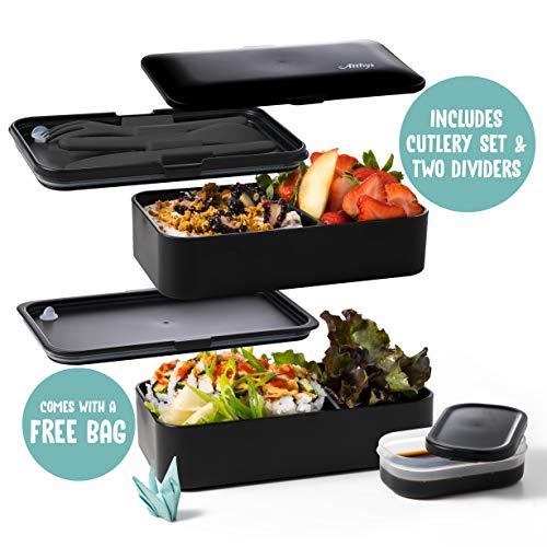 Atthys Lunch Box Schwarzer Bambus | Japanische Bento Design 3 Geschenkte Bestecke Bento Box 2 wasserdichte Fächer 1200 ml Mikrowelle- und Spülmaschinefest Brotdose Holz Erwachsene oder Kinder Premium