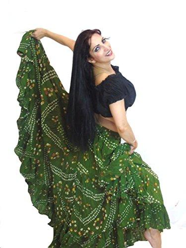 Polka Dot 25 Yard Yards Tribal Gypsy Baumwolle Bauch Tanzen Tanz Rock (Henna) (Zigeuner Stammes Bauchtanz Kostüme)