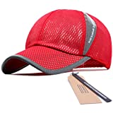 GADIEMENSS Mesh Speed Drying Breathable Running Cap Only 2.3 Ounces (Red)
