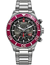 amazon co uk swiss military watches swiss military men s quartz watch black dial chronograph display and silver stainless steel bracelet 6