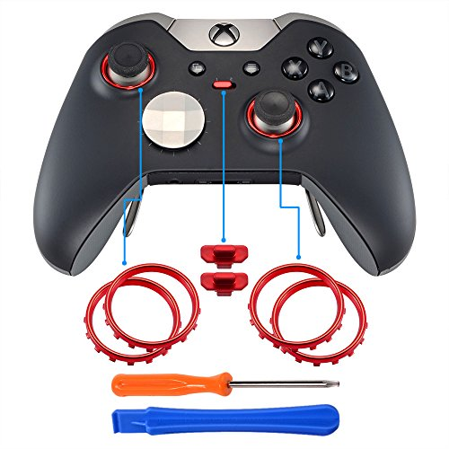 eXtremeRate® Matte Chrome Red Profile Switch Boutons Accent Rings Accessoires Pièces pour Xbox One Elite Controller Pack of 2