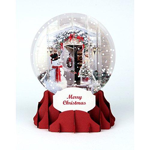 PopUP 3D Weihnachten Schneekugel Grußkarte PopShot Weihnachtstür Schneemannn 9x13cm (Schneekugel-display Weihnachten)