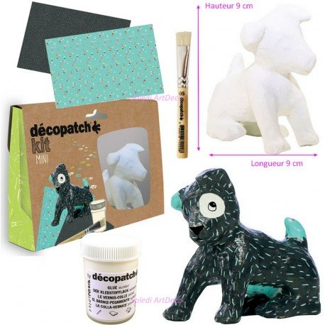 Kit Mini kreative Décopatch Kleine Hunde sitzend 9x 9cm aus Gips mit Blatt, Klebstoff und Pinsel