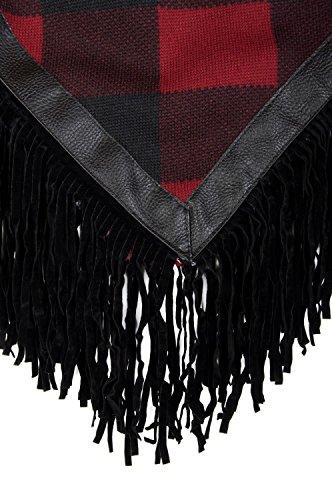 styleBREAKER - Poncho - Cape - À Carreaux - Femme Rouge - Noir/rouge