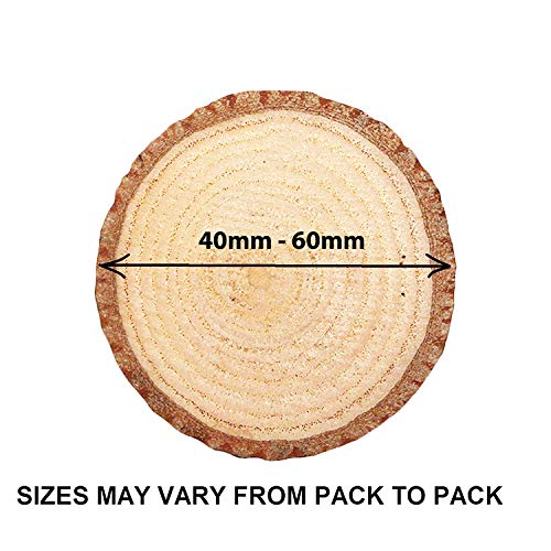 Round Natural Wood Slices (100Pcs) - Rustic Wood Discs (4 to 6cm) - Wood Log Slices with Bark and Smooth Finish - 5mm Depth Wooden Circles - Wooden Rounds for DIY Crafts and Decoration Ornaments