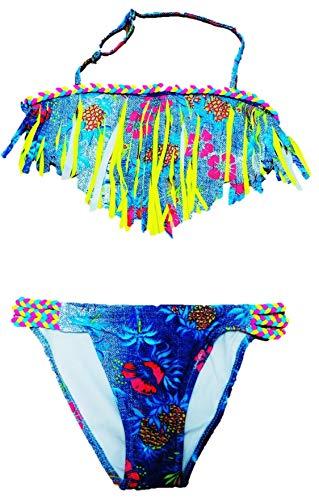 VanessasShop Schöner Mädchen Neckholder Bikini in Jeans Optik mit Fransen in den Größen 122-158 (122-128)
