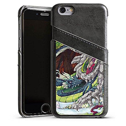 Apple iPhone 6 Housse Étui Silicone Coque Protection Dragons Imagination Arbres Étui en cuir gris